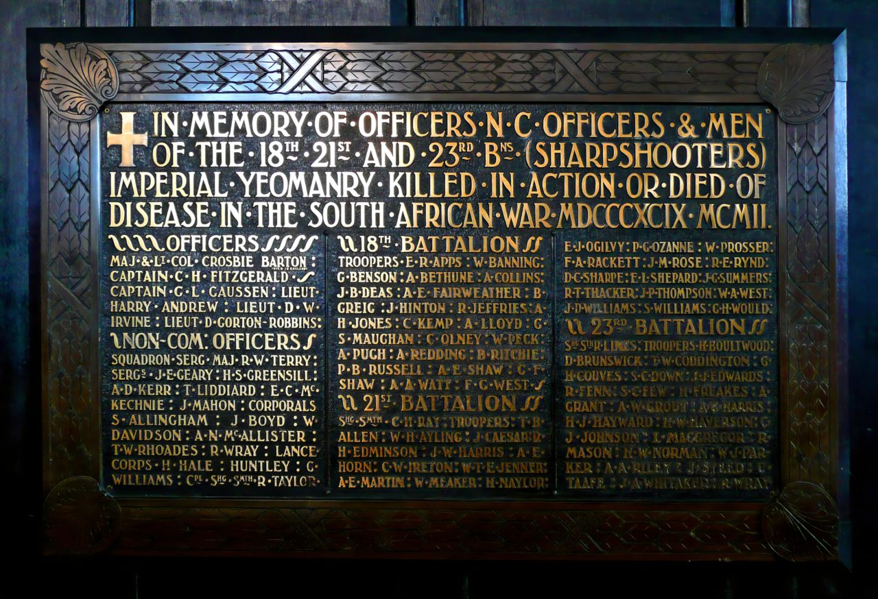 A memorial plaque with a list of the deceased soldiers.